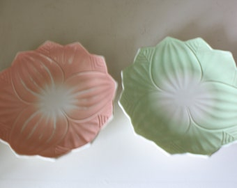 Fire King Leaf and Blossom Plates in Pink and Green
