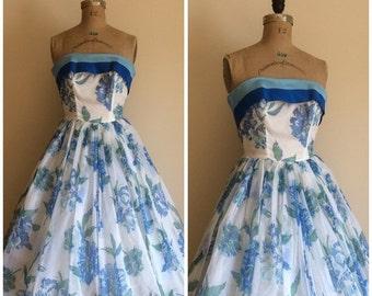 SALE Vintage 1950's White Blue Floral Formal Dress 50's Wedding Party Dress