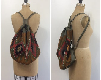 1980s Vintage Kilim Leather Backpack Bag 80s  Shoulder Purse Wary