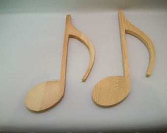 Craft Supplies, Wood Musical Notes, Wood Shapes, Wood Crafts, Wood To Paint, Wood Wall Hanging, Wood Notes Wall Hanging Set of 2