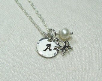 Initial Necklace Bridesmaid Jewelry Monogram Necklace Bridesmaid Gift Personalized Necklace Lotus Charm Bridesmaid Necklace
