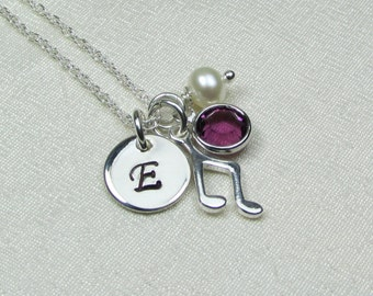 Initial Necklace Personalized Necklace Mothers Necklace Birthstone Necklace Music Note Necklace Personalized Jewelry Gift Monogram Necklace