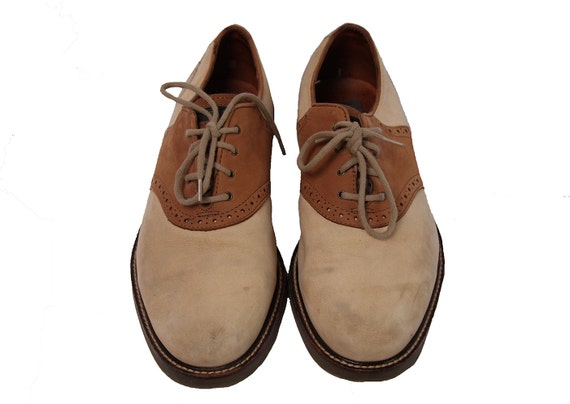 Vintage Tan Suede Saddle Shoes Size 8.5 Mens Or 10 Womens