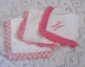 Hankie Lot of 3 Vintage Solid White Crocheted Tatted Trim Cotton Linen Hankies Pink