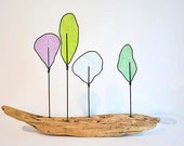 Modern Abstract Wire Driftwood Tree Sculpture. - Nature - Table Art - Pastels