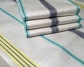 Pair of 1960's Surety Irish Linen Towels  Made in Ireland  Woven Linen Towels , Aqua Blue Yellow and Grey Stripes on White Linen Towels