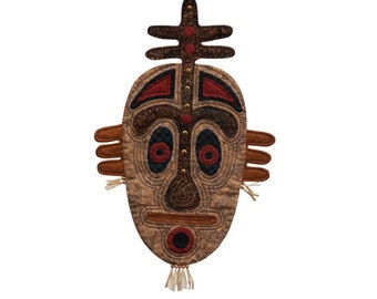 """Quilted Tribal Mask Wall Hanging - DOWN UNDER - 15""""w x 25""""h"""