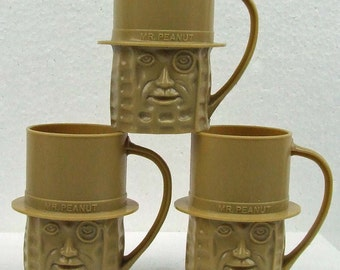 Vintage Set of Three Mr. Peanut Beige Mugs USA Retro Advertising Kitsch