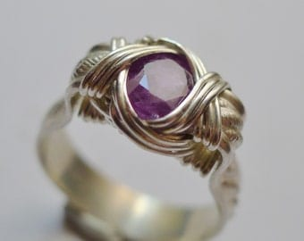 Faceted Purple Sapphire Gemstone in Silver Wire Wrapped Ring,  sz. 9