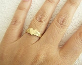 Solid 10K Gold Heart Nugget Band Ring, Size 6.5, gold nugget ring