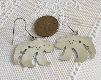 Hand cut Polar Bear Sterling silver Earrings, Indian Jewelry