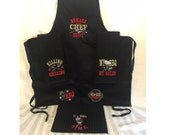 Grill BBQ apron for men embroidery barbecue quotes embroidery designs for towels, aprons - awesome gift for him, embroidery designs