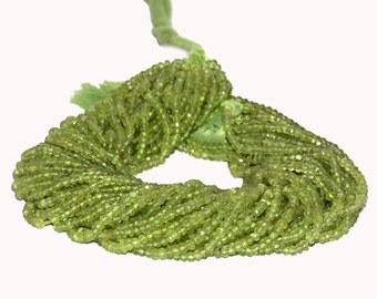 Peridot AAA Quality Peridot Faceted Rondelles 3.5mm to 4mm 14 inch strand.