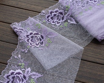 2 Yards Lace Trim Exquisite Purple Flowers Embroidered Tulle Lace 7.87 Inches Wide High Quality