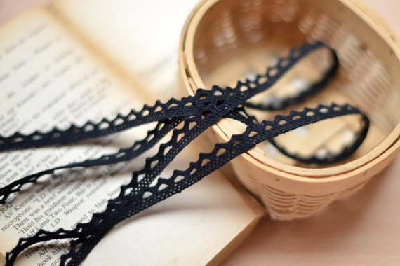 10 Yards Black Cotton Lace Trims  0.4 Inches Wide