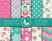 40% off Nesting Dolls Paper Pack - 10 Printable Digital Scrapbooking papers - 12 x12 - 300 DPI
