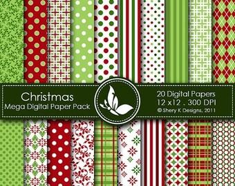 50% off Christmas Mega Paper Pack - 20 Printable Digital scrapbooking papers - 12 x12 - 300 DPI