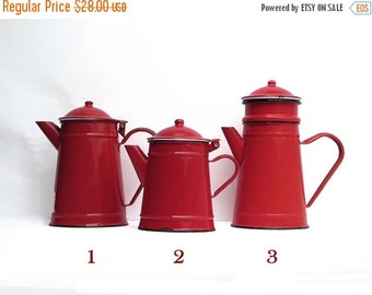 1 French Vintage red  Enamel  coffee pot, bright tea pot, piece number 2, enamelware red Kitchen  Decor,French Country, Rustic French Decor,