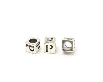 Alphabet Beads Sterling Silver 4mm Alphabet Blocks P - 1pc (3183)/1