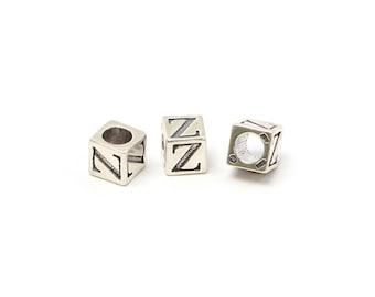 Alphabet Beads Sterling Silver 6mm Alphabet Blocks Z - 1pc (3219)/1