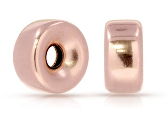 14Kt Rose Gold Filled 6mm Roundel 1.5mm Hole - 5pcs (6470) Wholesale price 10% discounted