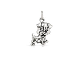Puppy Dog Pendant Charm Sterling Silver 12.7mm - 1pc  High Quality Hallow backside (3241)/1