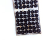 10 Black Buttons, Glass Buttons, Vintage Buttons, 13mm