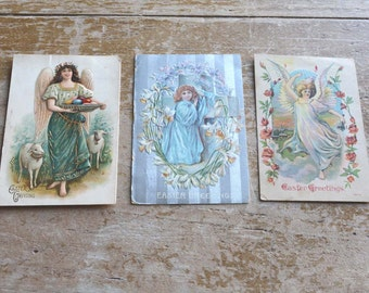 Easter Postcards Angel Postcards Vintage Easter Cards with Angels Set of Three Vintage Postcards Great For Craft Projects and Scrapbooking