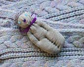 Lavender Filled Sachet Sock Doll Grey Cat With Blue Eyes Blue Heart Nose English Lavender Lavandula 'Provence'