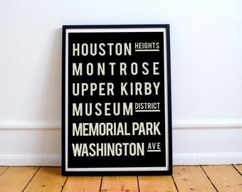 Living Room Decor, Houston, Subway Sign, Modern Art Print, Subway Art, Houston Map, Decor, Typography Poster, Sign, Subway Map, Wall Decor