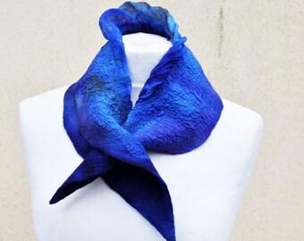 Beautiful shawl, nuno felted scarf, silk, wool, nuno, felted, gift, fibre art, blue