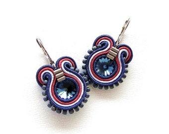 Swarovski Blue Earrings Blue Drop Earrings Blue Swarovski Earrings Swarovski Drop Earrings Soutache Earrings Swarovski Crystal Earrings