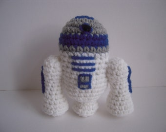 Crocheted Stuffed Amigurumi Star Wars R2-D2