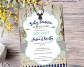 tribal baby shower invitation BOHO chic bridal shower coed wedding arrows feathers wood baby boy deer pre-baby 1238 shabby chic invitations