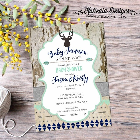 deer baby shower invitation | rustic baby boy shower | boy oh boy | wood tribal arrows deer invitation | 1st birthday | 1238b Katiedid Cards