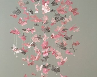 Monarch Butterfly Chandelier   Mobile - a touch of Gray, nursery mobile, baby girl mobile, photo prop, baby mobile, 3D mobile