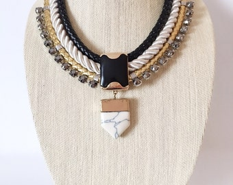 70's Vintage Leather, Rope And Rhinestone Necklace With Marble Pendant