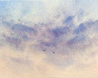Original ACEO watercolor painting - Beneath the clouds