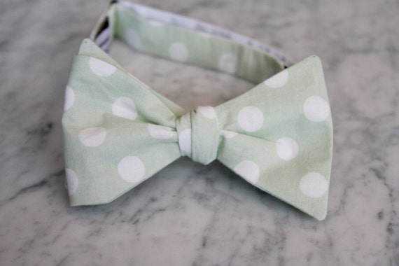 Soft Mint Green Polka Dot Bow Tie - Groomsmen and wedding tie - clip on, pre-tied with strap or self tying