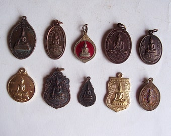 10 Thai Buddhist Buddha Buddhism Lucky Charms Pendants Set Blessed Brass Medallions