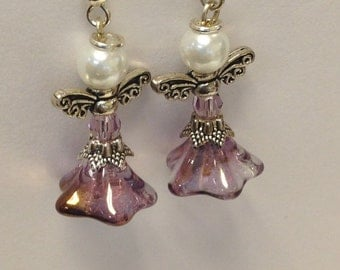 Adorable Angel Earrings Czech Glass Amethyst/Copper Trumpet Flower Bead, Swarovski Crystal Round Lt Amethyst Silver wings and halo