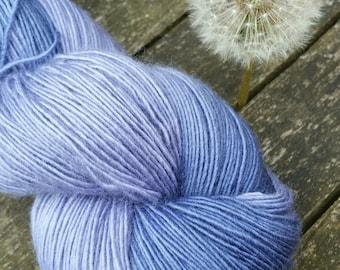 Blue Hand Dyed Sock Yarn, Singles Sock Yarn, light fingering weight yarn, Falkland Merino yarn, 100g