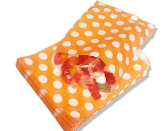 "20 Orange Polka Dot Paper Favor Bags - 5"" x 7"" - 20 pcs - Party Favors, Candy Bags, Wedding Favor Bags, Glassine Paper Bags"
