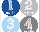 Baby Month Stickers, Monthly Baby Boy Stickers, Baby Month Milestone Stickers - Baby Boy, Baby Shower Gift, Grey, Blue