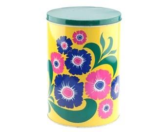 Vintage Kitchenware Metal Canister - Storage Container Floral Design.. Sixties-Seventies made in Holland..