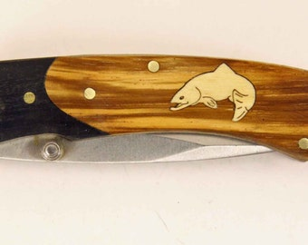 Rough Rider knife with Zebra wood handle and Custom maple jumping trout inlay