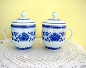 Two 2 A Pair Porcelain China Blue and White Mugs with Lids Chinese or Japanese