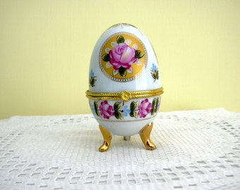 Vintage Faberge Style Easter Egg Hinged Trinket Jewelry Keepsake Treasure China Box Floral Rose  Collectible Shabby Chic