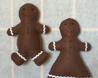 Chocolate Shortbread Man and Woman - 2 Ornaments