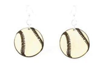 Baseballs - Laser Cut Earrings from Reforested Wood